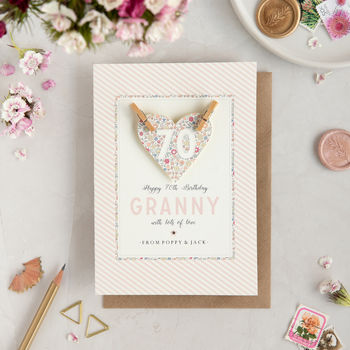 Personalised Age Heart Birthday Card