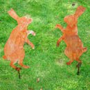 Pair of boxing Hares Garden Silhouette - Rust