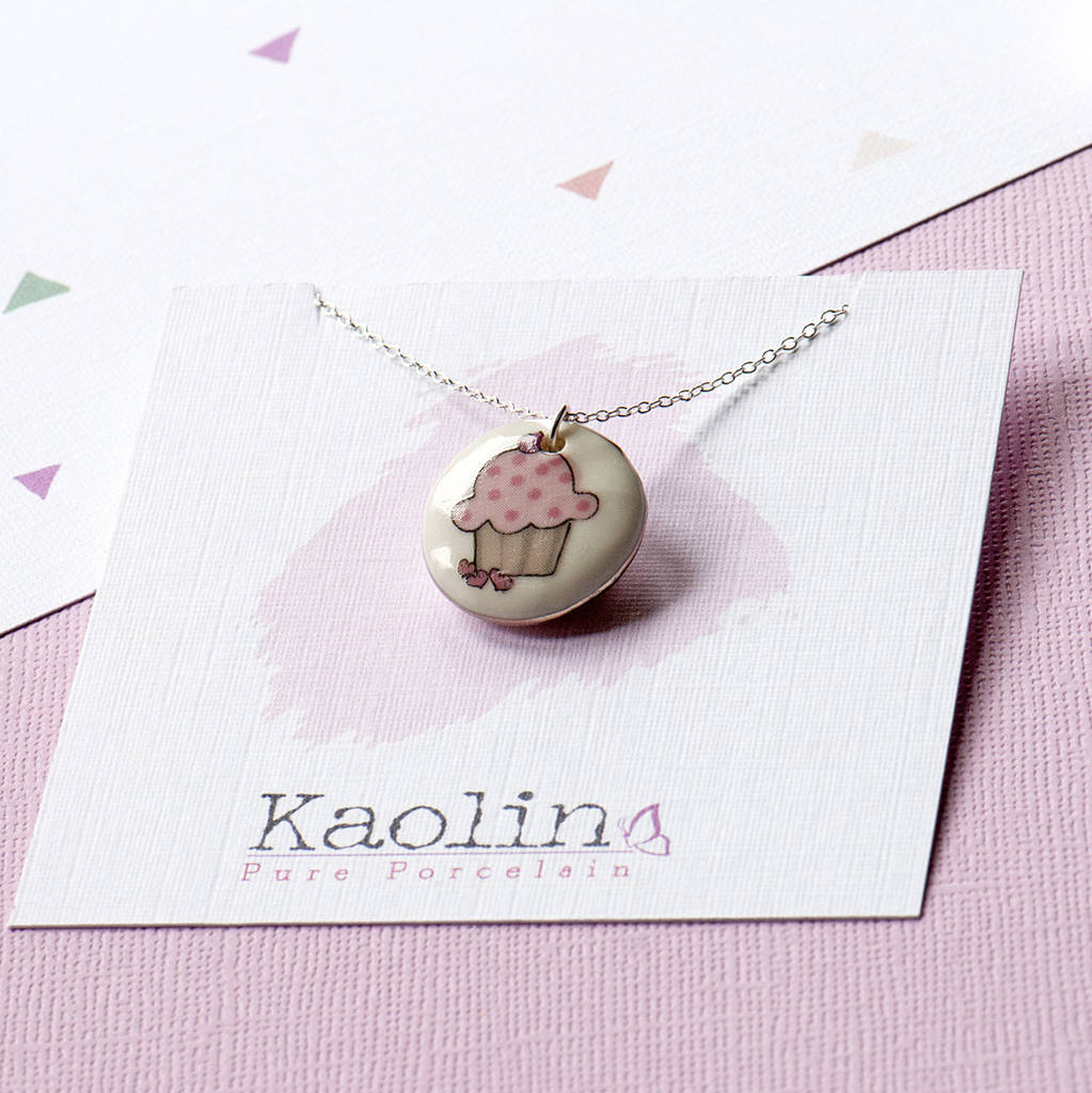 Cupcake Cuteness Porcelain Necklace On Silver Chain