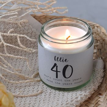 Personalised 40th Birthday Charm Candle
