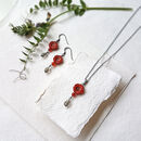 Silver Flower Necklace And Earring Gift Set