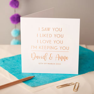 Personalised Rose Gold Foiled Anniversary Card - engagement cards