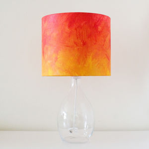 Handpainted Abstract Lampshade: Expressive Flame - living room