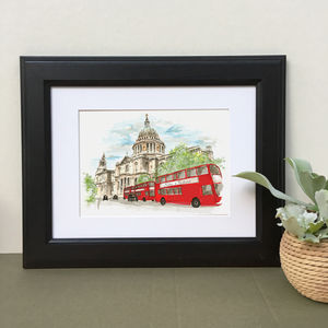 Hand Illustrated St Paul's Cathedral London Bus Print - drawings & illustrations