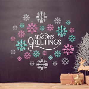 Season's Greetings Snowflakes Christmas Wall Sticker