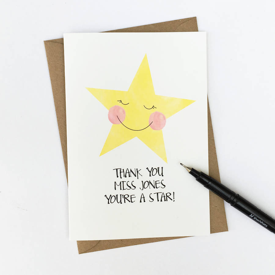 Personalised Thank You Star Card