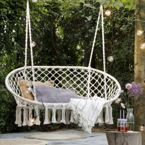 Cream Macrame Double Hanging Garden Seat - chairs