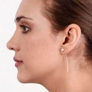 Pearl Through The Ear Sterling Silver Earrings