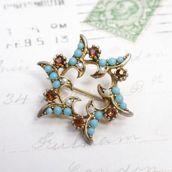 Vintage Turquoise Star Brooch