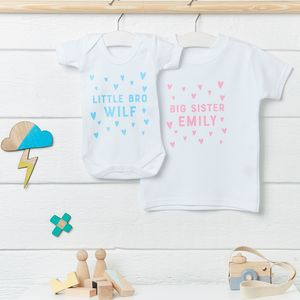 Personalised Big Sister, Little Brother Clothing Set