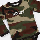 Personalised Army Newborn Baby Grow With Bib