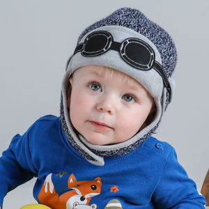Baby's Winter Pilot Hat With Goggles Navy Blue