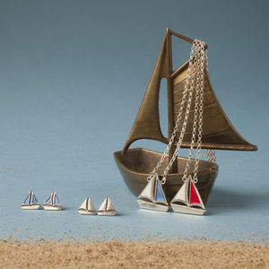 Silver Sail Boat Necklace