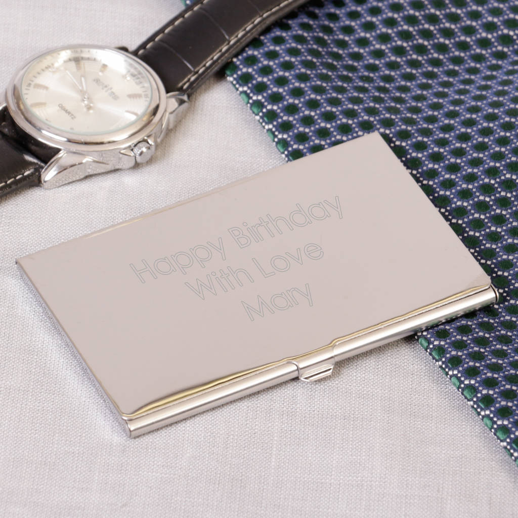 Personalised mirrored steel business card holder by dibor personalised mirrored steel business card holder reheart Gallery
