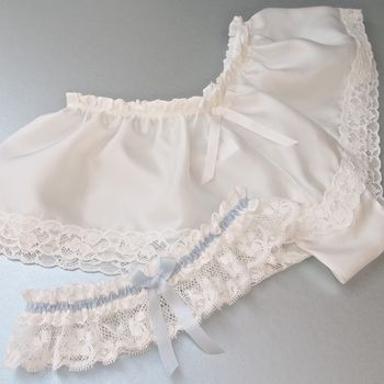 Ivory Silk Wedding Knicker And Lace Garter Set