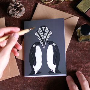 Penguin Art Deco Christmas Card