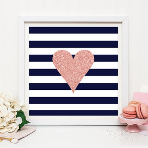 Rose Gold Heart Print - shop by colour