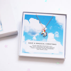 Rainbow Enamel Unicorn Necklace Christmas Gift Card