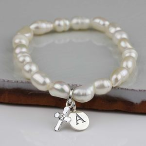 Personalised Children's Pearl Christening Bracelet