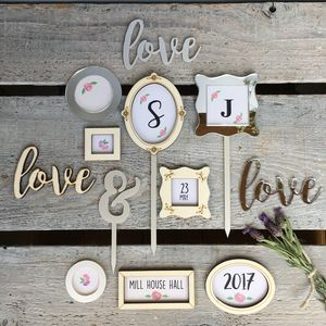 Personalised Floral Picture Frame Wedding Cake Toppers - cake toppers & decorations