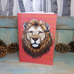 Lion Illustration Notebook With Lined Pages