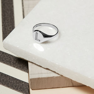 Personalised Facett Initial Silver Round Signet Ring - rings