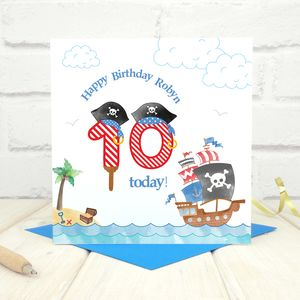 Personalised 10th Birthday Pirate Card