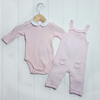 Baby Girl Knitted Overall And Bodysuit Set