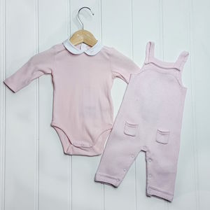 Baby Girl Knitted Overall And Bodysuit Set - outfits & sets