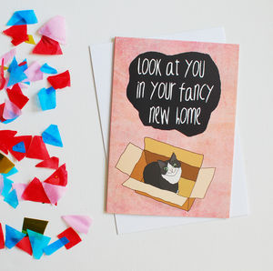 Cat Themed New Home Card - new home cards