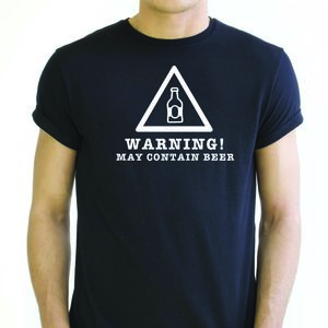 Warning! May Contain Alcohol T Shirt - men's fashion