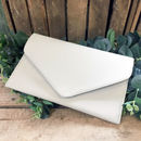 Personalised White Leather Bridal Clutch Bag