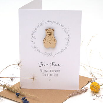 Bert Bear New Baby Personalised Card