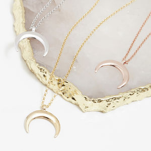 Drop Crescent Moon Necklace In Silver, Gold Or Rose - necklaces & pendants