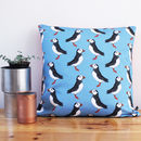Blue Puffin Cushion