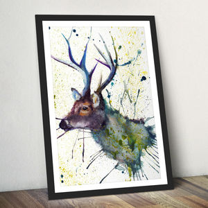 Splatter Stag Watercolour Fine Art Giclée Print - animals & wildlife