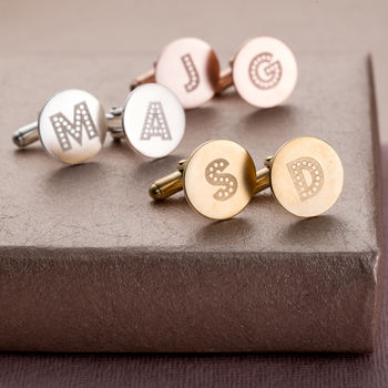 Personalised Letter in Lights cufflinks in 9ct rose gold plate, silver and 9ct yellow gold plate