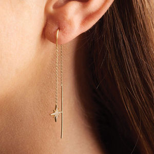 Starburst Threader Earrings - celestial jewellery