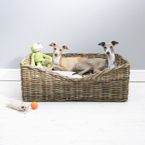Rectangular Rattan Pet Basket - dog beds & houses