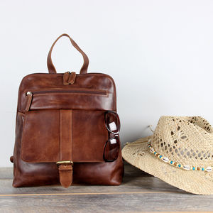 Leather Oiled Leather Rucksack - womens