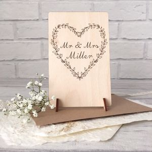 Personalised Mr And Mrs Wooden Wedding Card