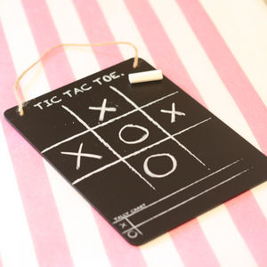 Tic Tac Toe Noughts And Crosses Blackboard Game - chalkboard styling