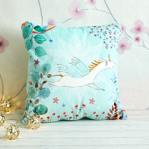 Snowflake Unicorn Cushion