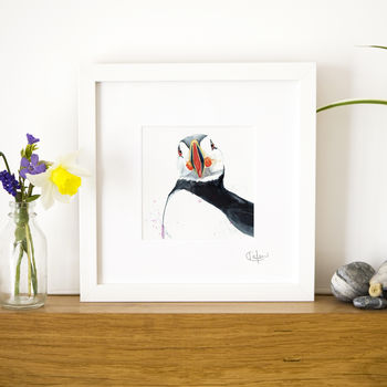 Inky Puffin Illustration Print