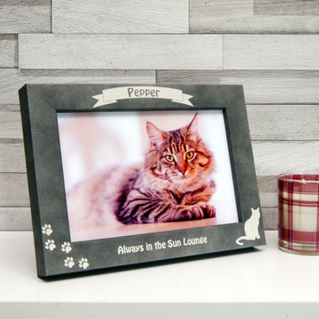 Personalised Stone Effect Cat Photo Frame