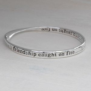 Silver Plated Crystal Message Bangle - winter sale