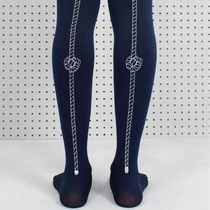 Navy Rope Printed Tights - socks & tights