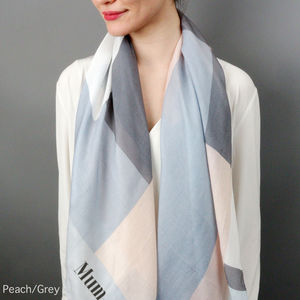 Personalised Colour Block Print Scarf - stocking fillers for her