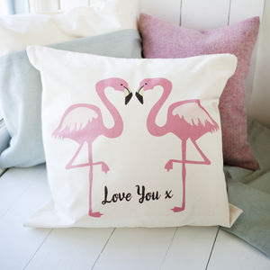 Flamingo Couple Cushion With Message - cushions