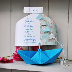 Friend Paper Boat Card Keepsake - mother's day cards